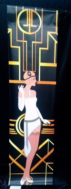 1920s Backdrop Panel Flapper 2.3m x 0.60m $30 incl gst works in conjunction with our wall drapes