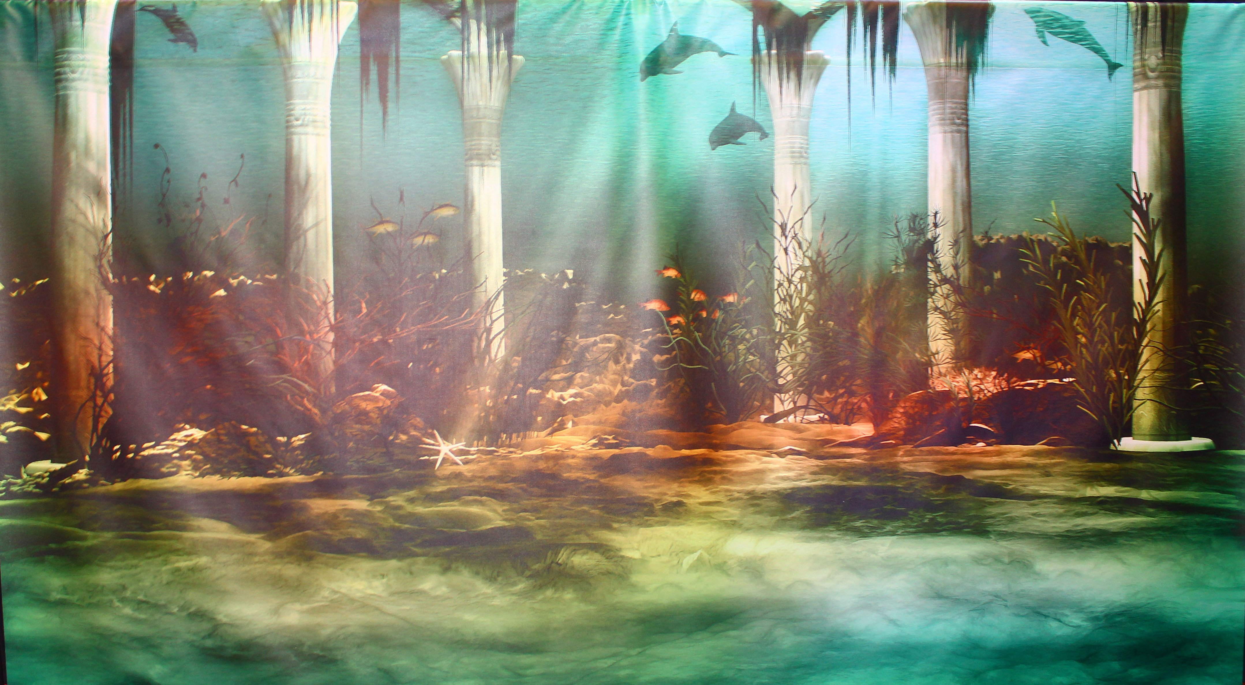 Backdrop Atlantis Under The Sea 4m x 2.3m $100 incl frame & gst