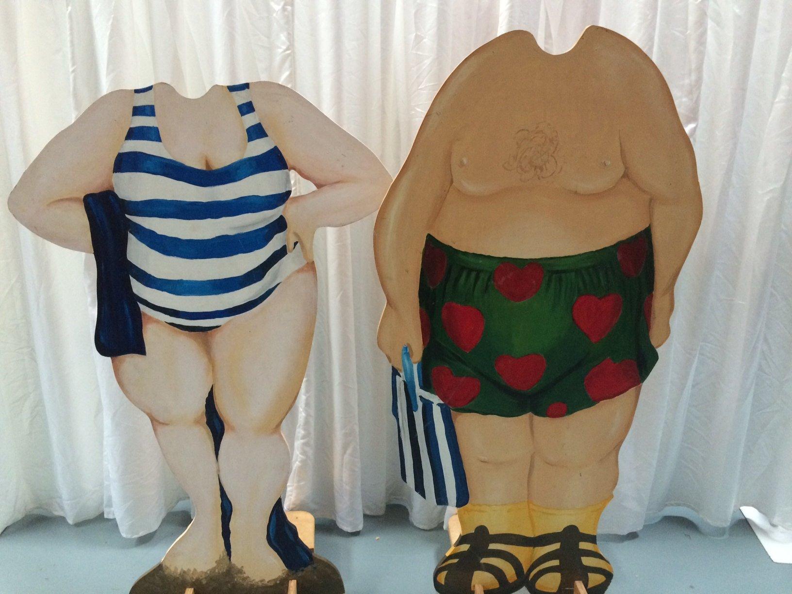 Beach Man & Beach woman Photo props, Wooden $50each, 1.5m x 0.8m