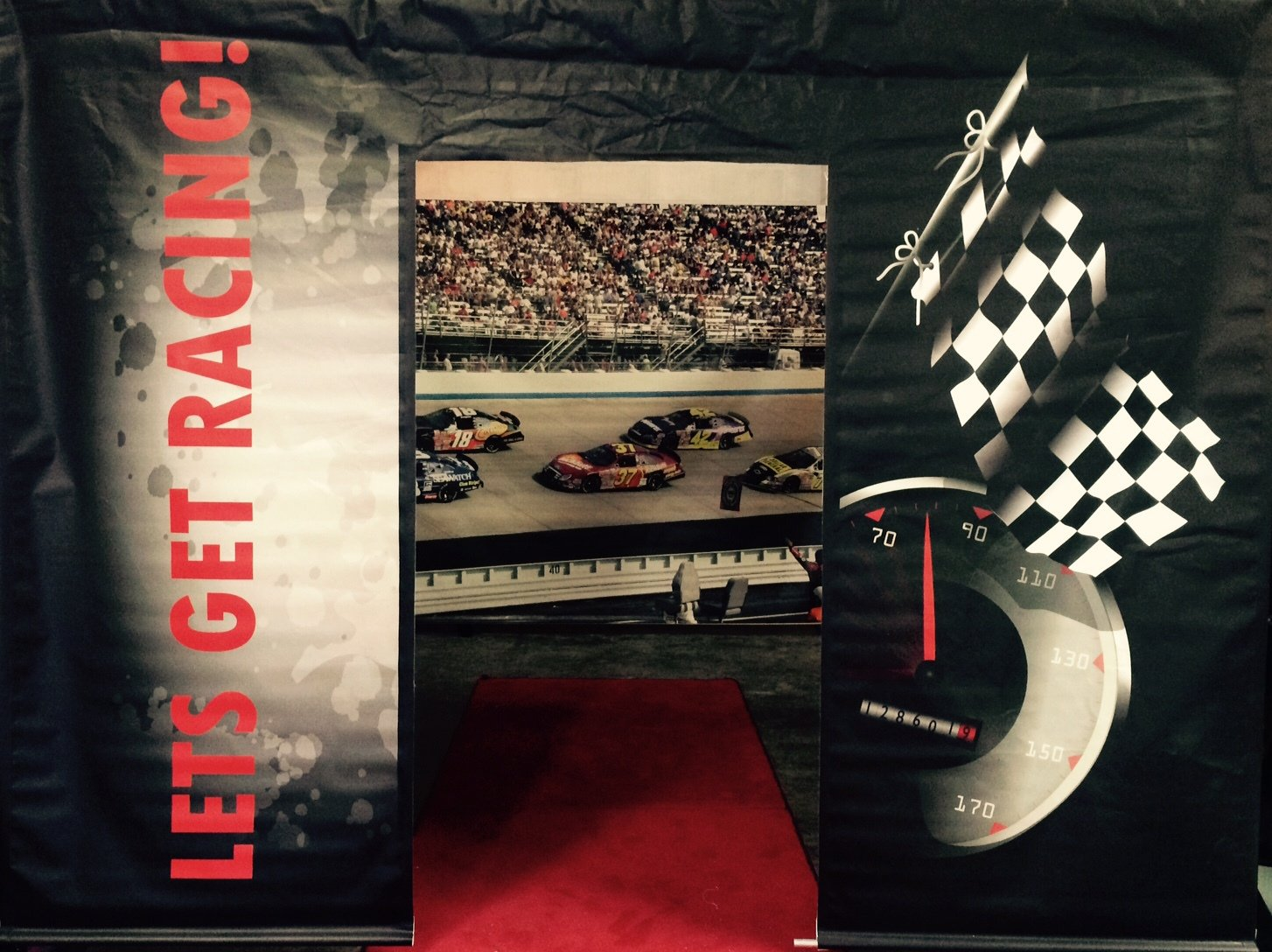 Entrance Race car 3m x 2.3m can be mounted with other race backdrops to create a room $60 incl frame& gst