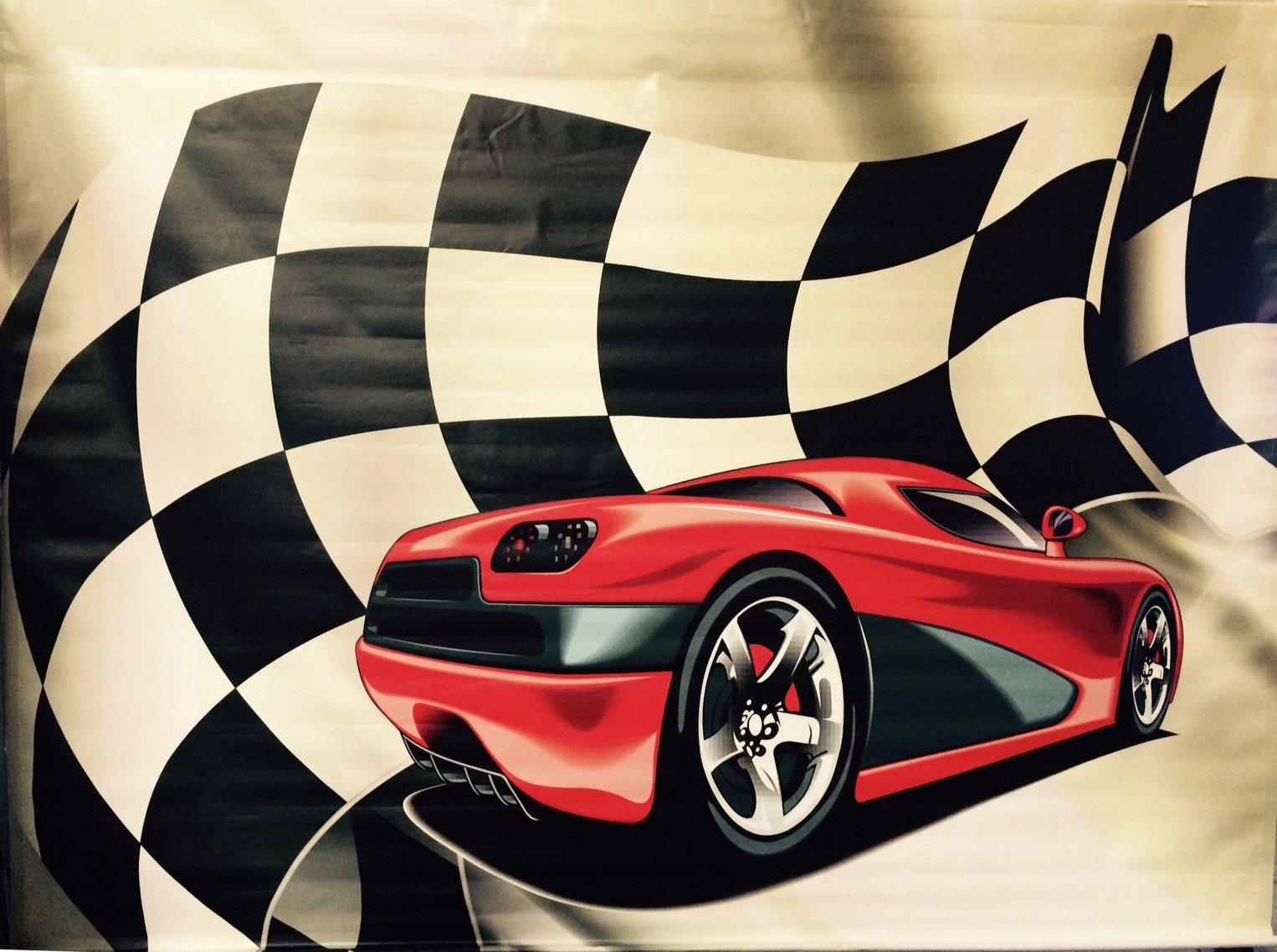 Backdrop Race Car Red 3m x 2.3m $60 incl frame & gst