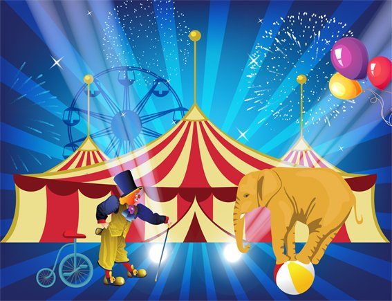 Backdrop Circus Carnival  3m x 2.3m $60 Incl frame & gst