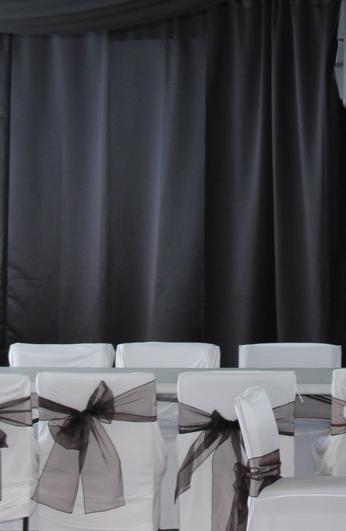 Black Satin wall draping 3m wideHire price from $30 Incl frames & gst