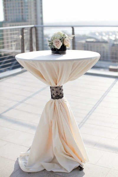 Bar leaner dressed in white tablecloth and black lace $18 incl gst