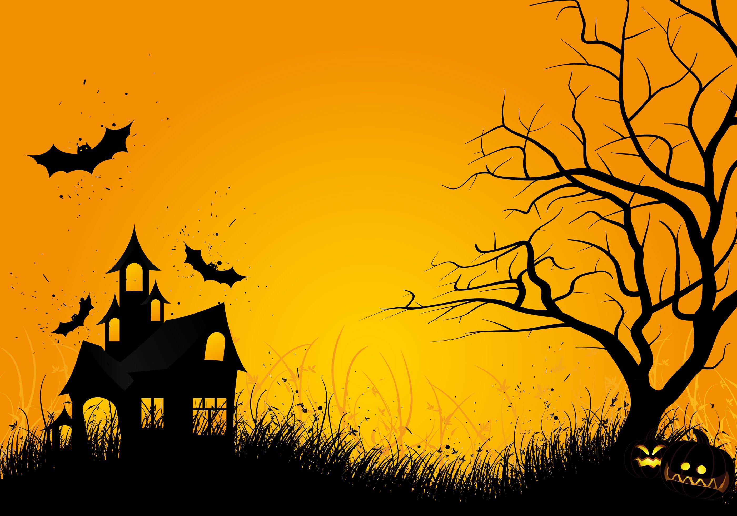 Backdrop Halloween House  3m x 2.3m $60 Incl frame & gst