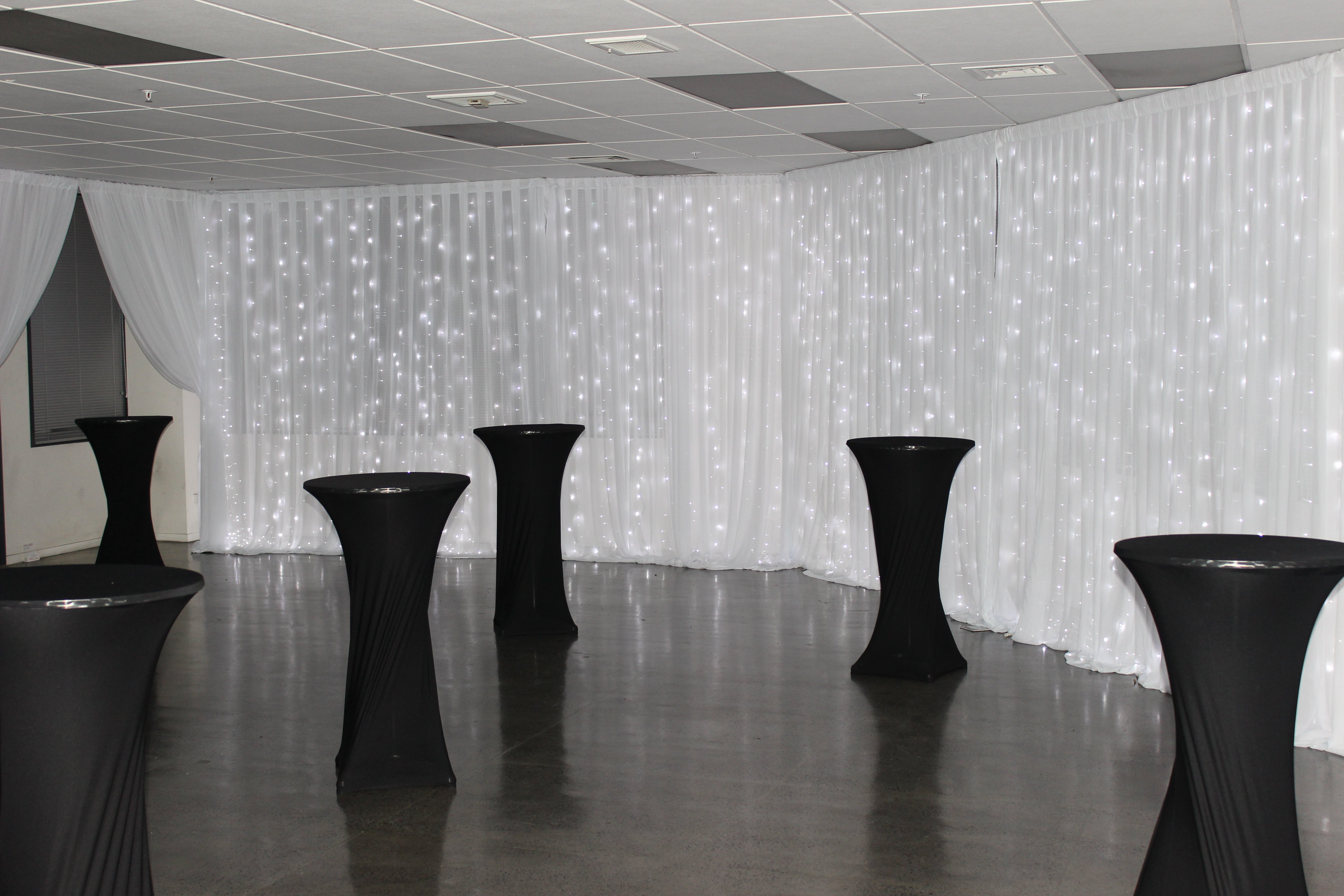 Fairy light wall draping
