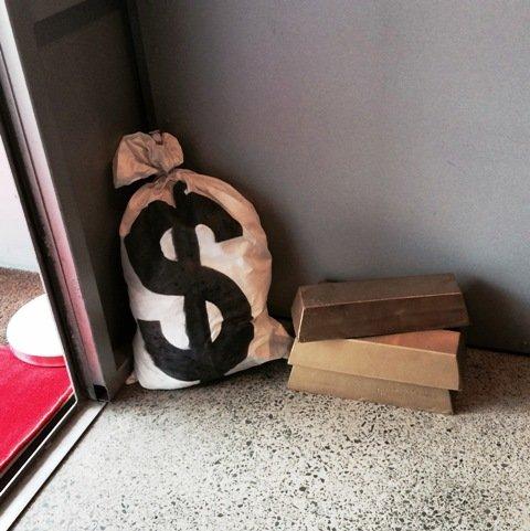 Money Bag props Hire price $10 each