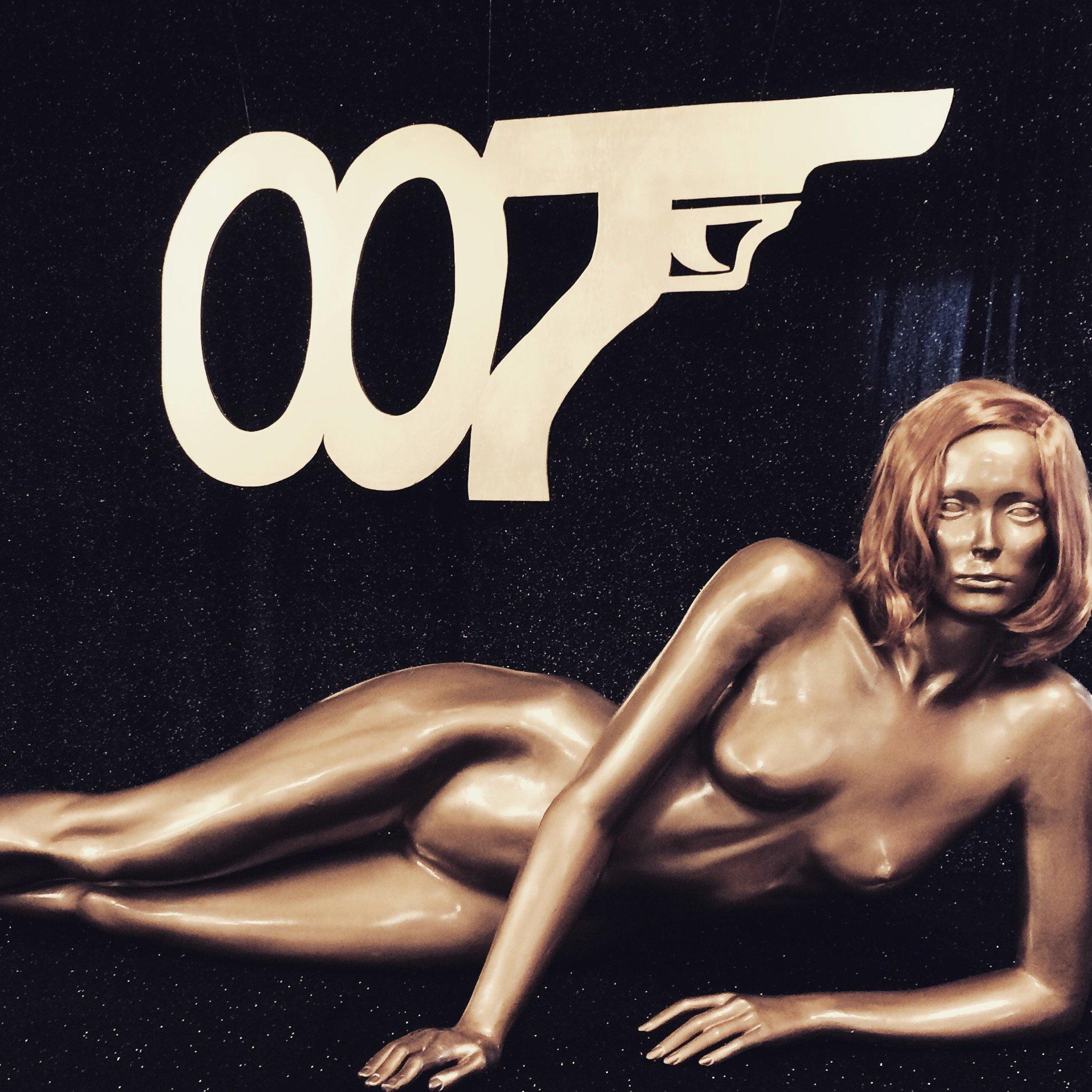 James Bond 007 sign and Gold Finger mannequin