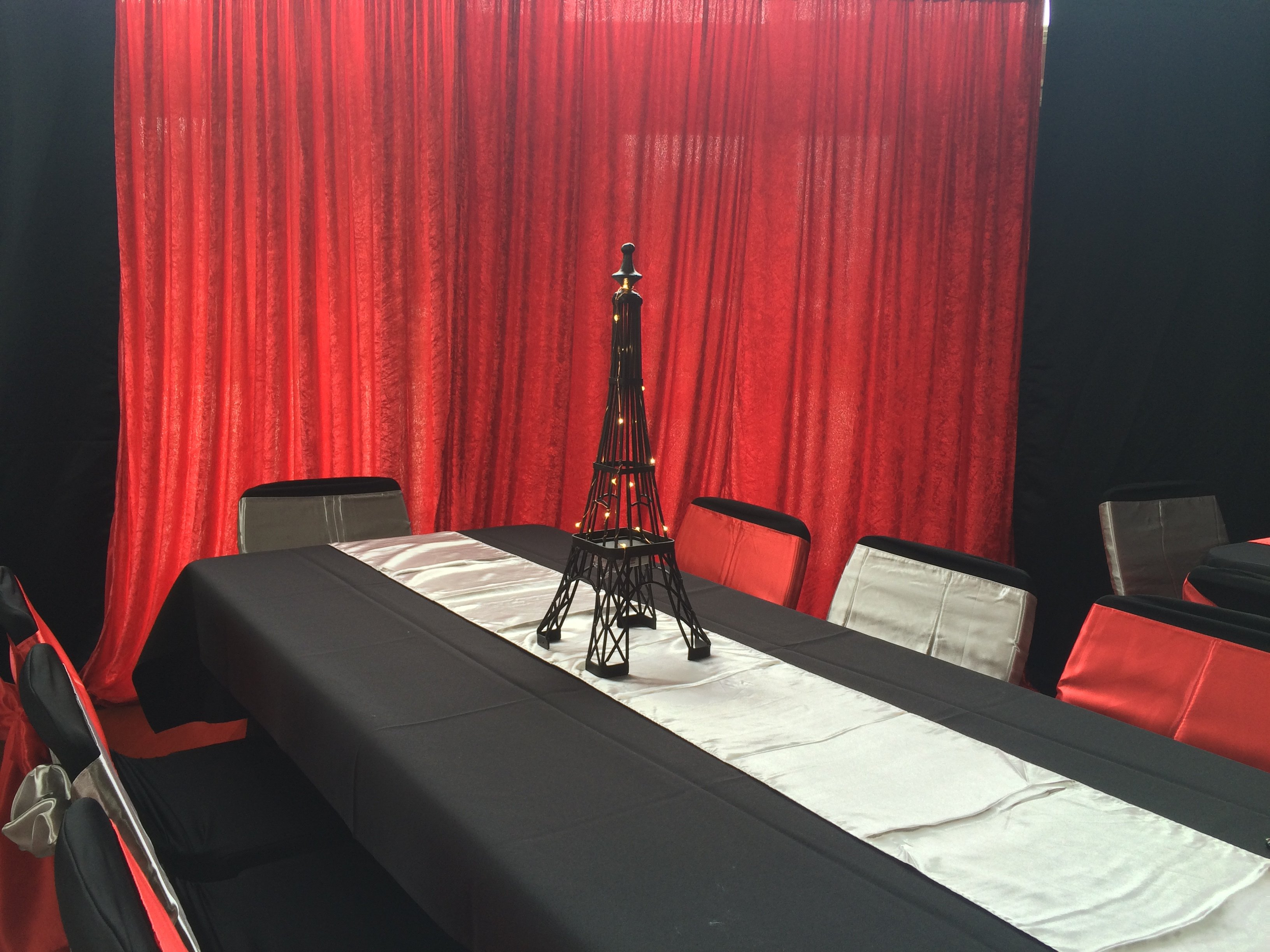 Red Panne wall draping 3m wide x 3m highHire price $30 Incl frames & gst