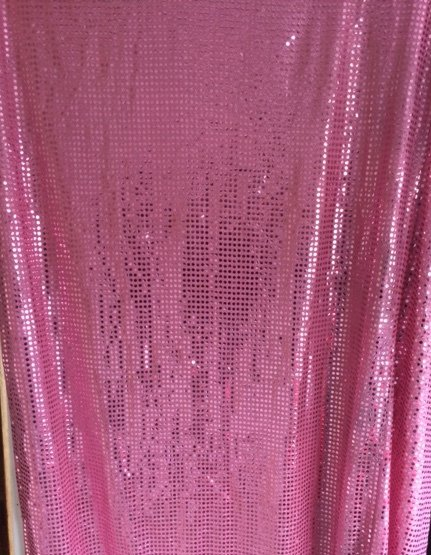 Pink sequin wall draping 3m wide x 2.4m highHire price from $30 incl frame and gst