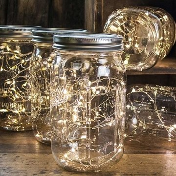 Mason Jars with seed lights