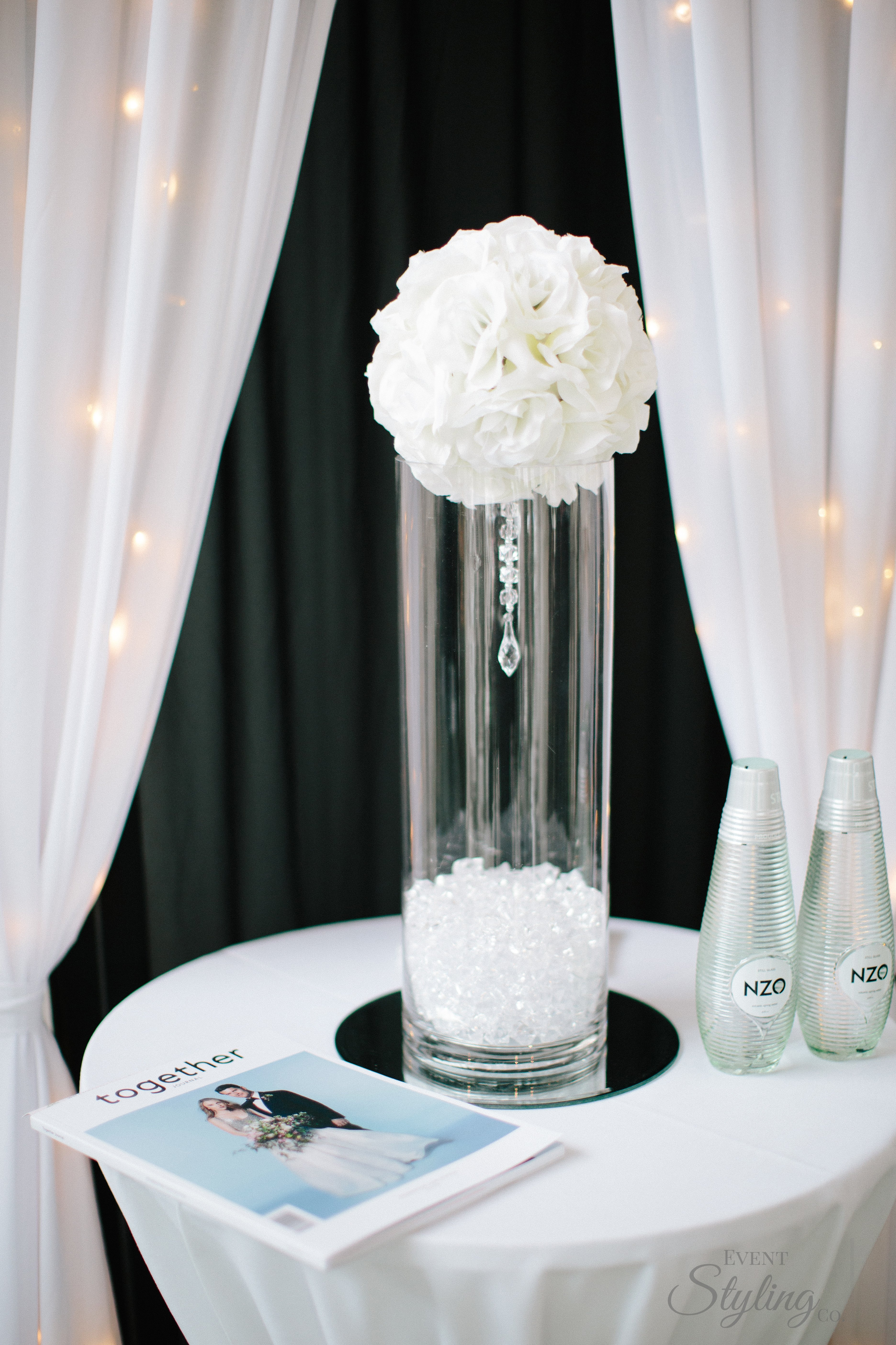 Crystal rose ball centre piece with mirror