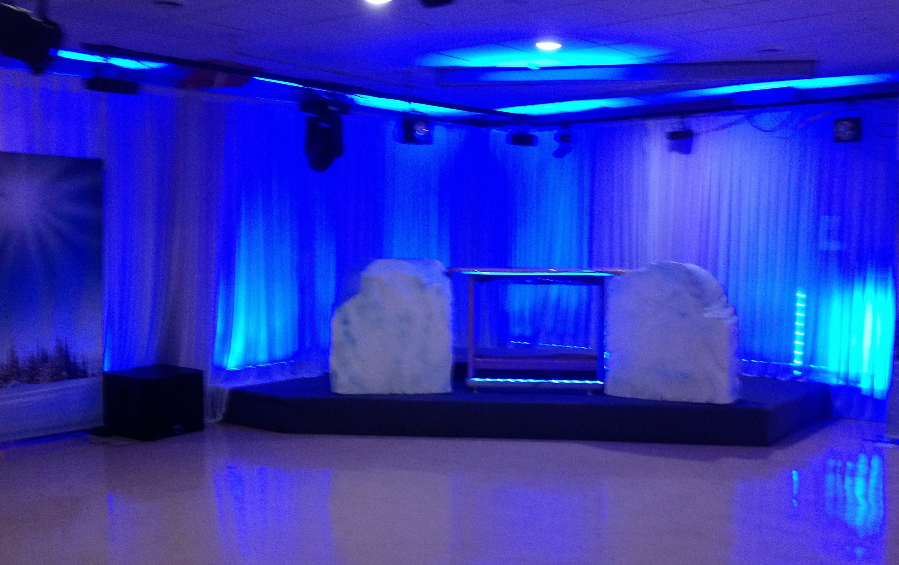 Blue wall wash lighting at Auckland event.