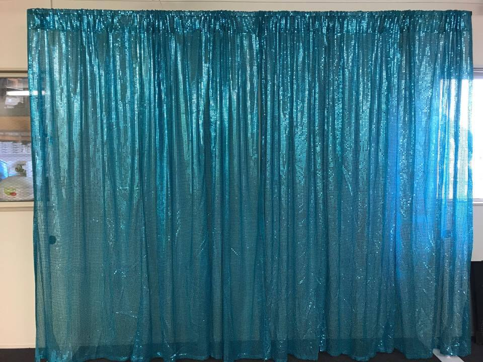 Blue Sequin wall draping