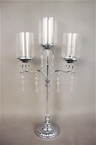 Candelabra Silver and glass 3 tier $10 incl gst