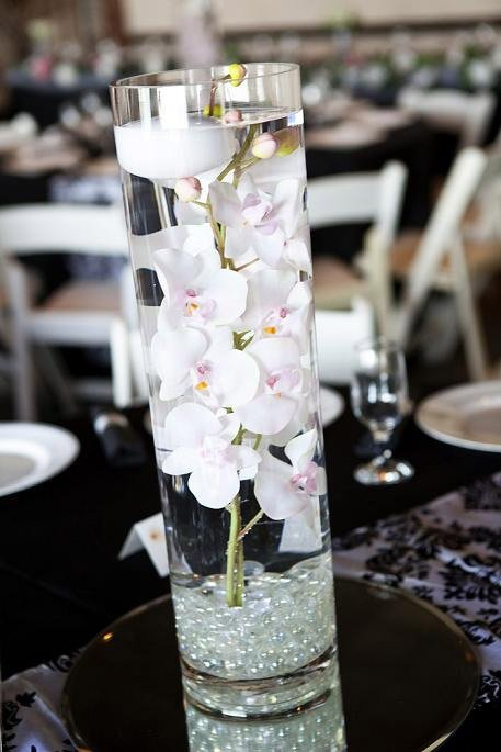 White Orchid Centrepiece With Mirror