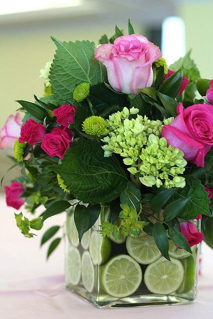 Cube Vase styled with lime slices and fresh flowers
