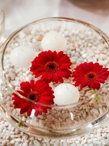Medium Fishbowl Centrepiece with gerbera flowers and floating candles $15 incl gst