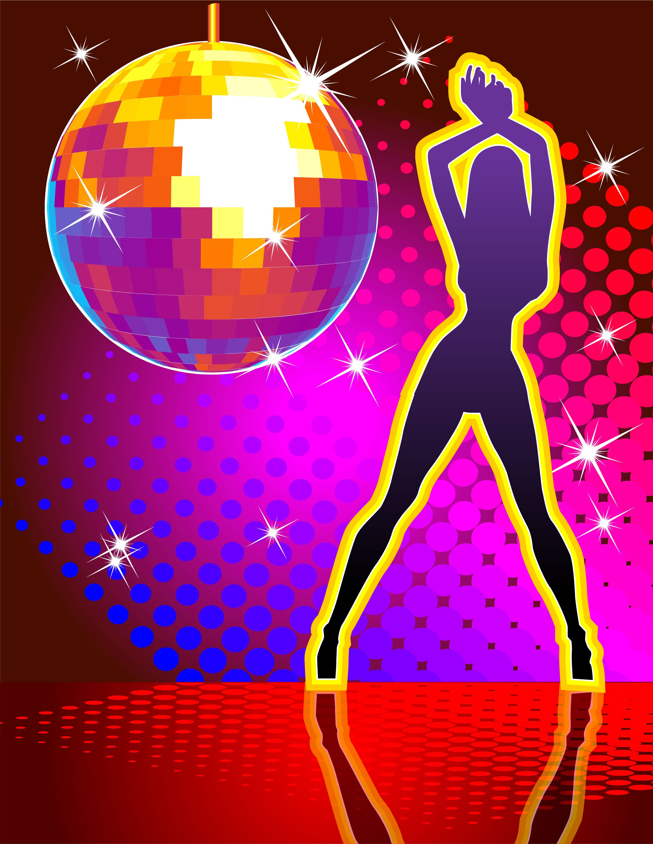 Prop Disco Sign Purple Disco Girl & Ball 1.2m x 0.9m $45 incl gst