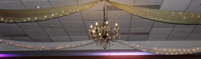 Ceiling draping and lighting in the Heritage hotel