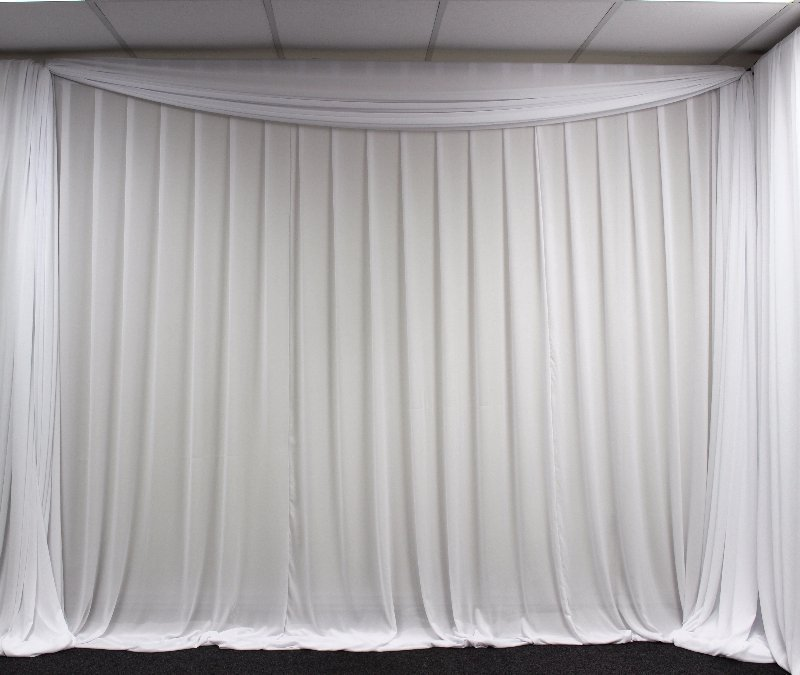 White chiffon fabric wedding backdrop