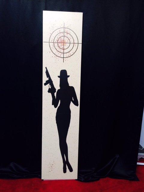 Tall Sign Gangster Woman 2.4m x .60m $45 incl gst