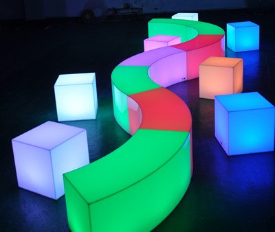 LED modular snake seat, 1.2m x 43cm x 43cm waterproof, rechargeable, remote operated in various colours hire price $85 each incl gst