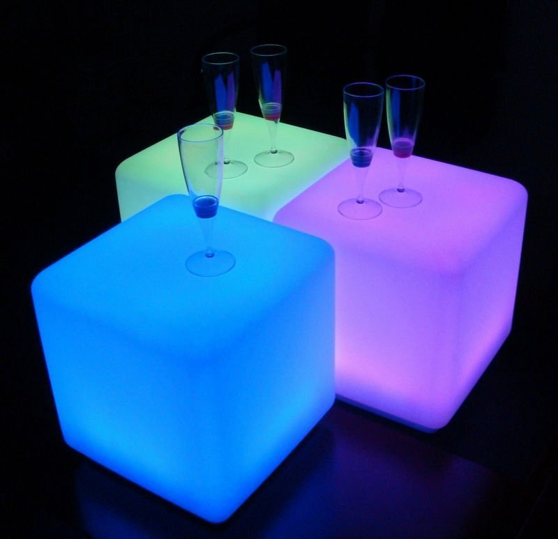LED Cubes, 40cm x 40cm hire price $30 incl gst. Remote setting to any colour or flash or fade through colours, waterproof, rechargeable.