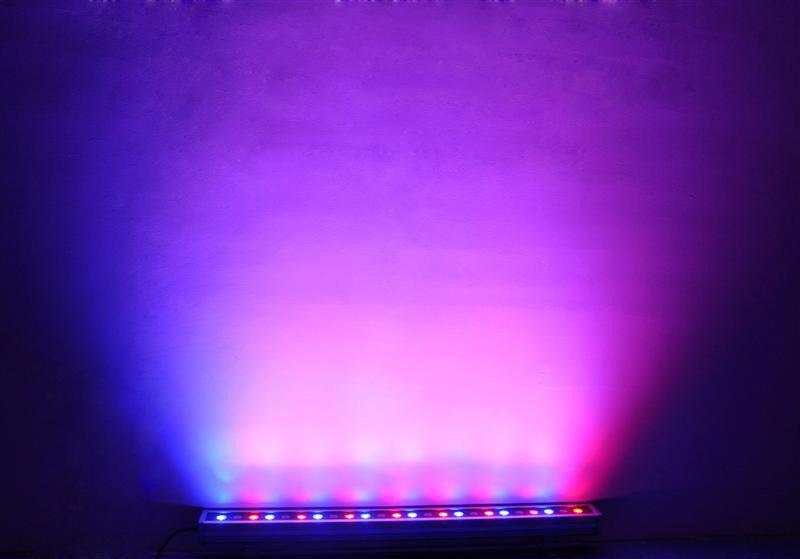 Wall wash light set to purple