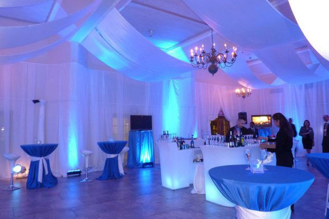 Light blue par can and wall wash lights.Light hire Auckland
