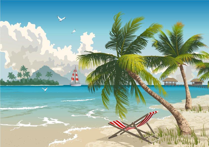 Backdrop Luau Beach  3m x 2.3m $60 Incl frame & gst