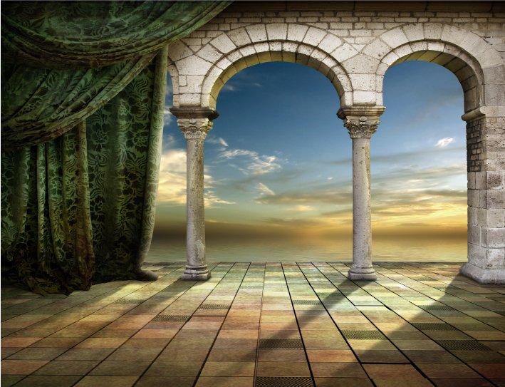 Backdrop Roman  Centre  3m x 2.3m $60 Incl frame & gst