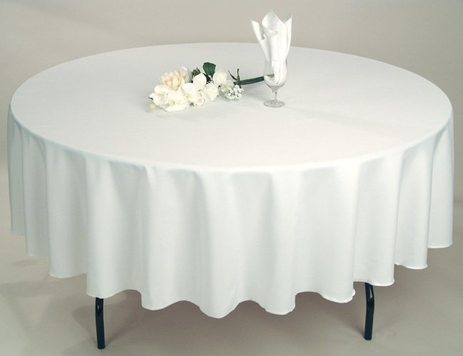 Standard length round table cloth avaiable in black and white - to fit 1.5m table $22, 1.8m table $25.40 incl gst