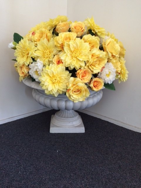 Large urn with flowers
