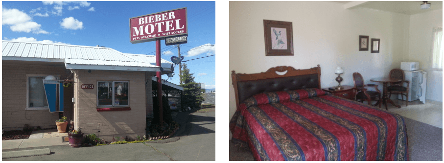 Stay overnight at motel in Bieber, CA
