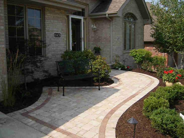 Brick Paver Sidewalk with Scallop Edging
