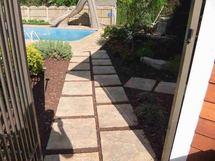 Brick Paver Pathway to Pool with Gate