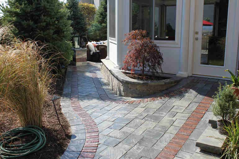 Different-Colored Brick Pavers for Walkway