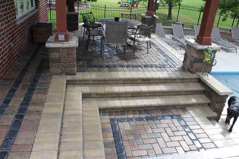 Multi Level Brick Pavers Around Pool