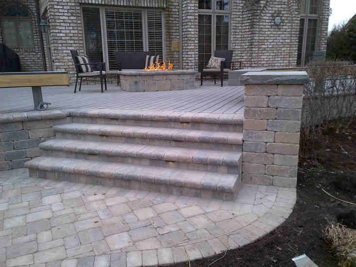 Brick Paver Patio with Fire Pit and Stairs