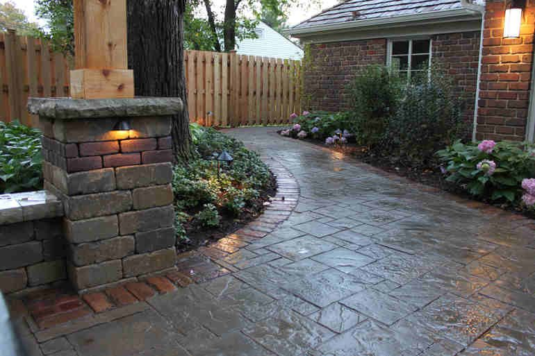 Backyard Paver Patio with Low Lights