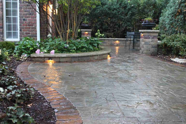 Brick Paver Patio with Lights
