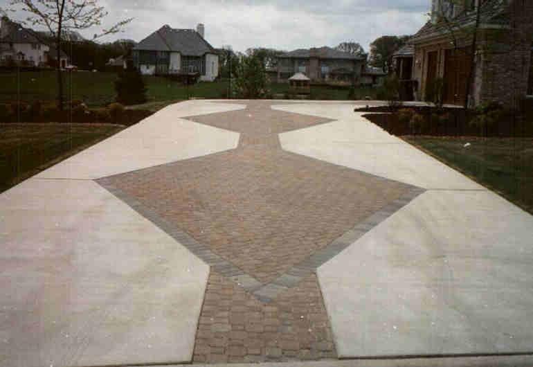 Concrete Driveway with Brick Pavers