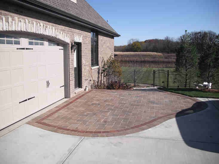Brick Paver Driveway with Entry Gate
