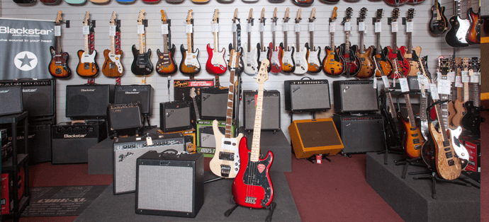 Electric guitars and amps