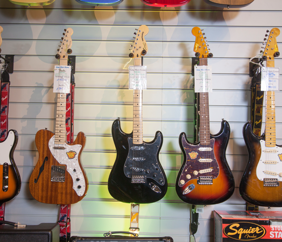 Range of guitars lined up