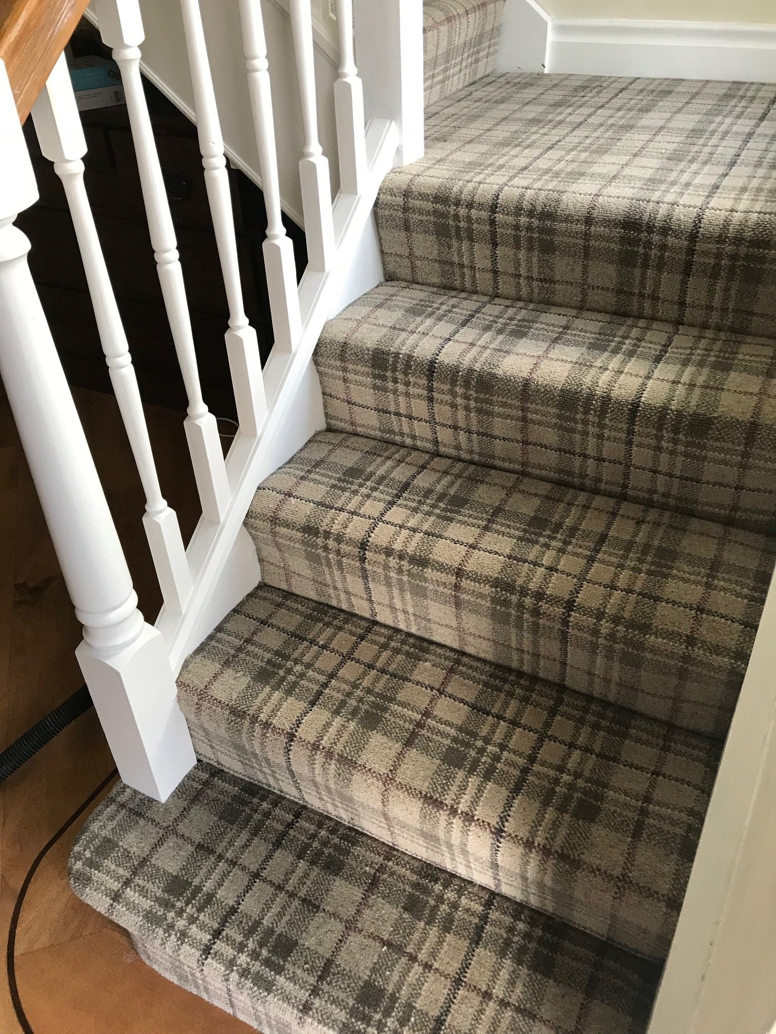 Grey Tartan Carpet Fitted To Stairs And Landing