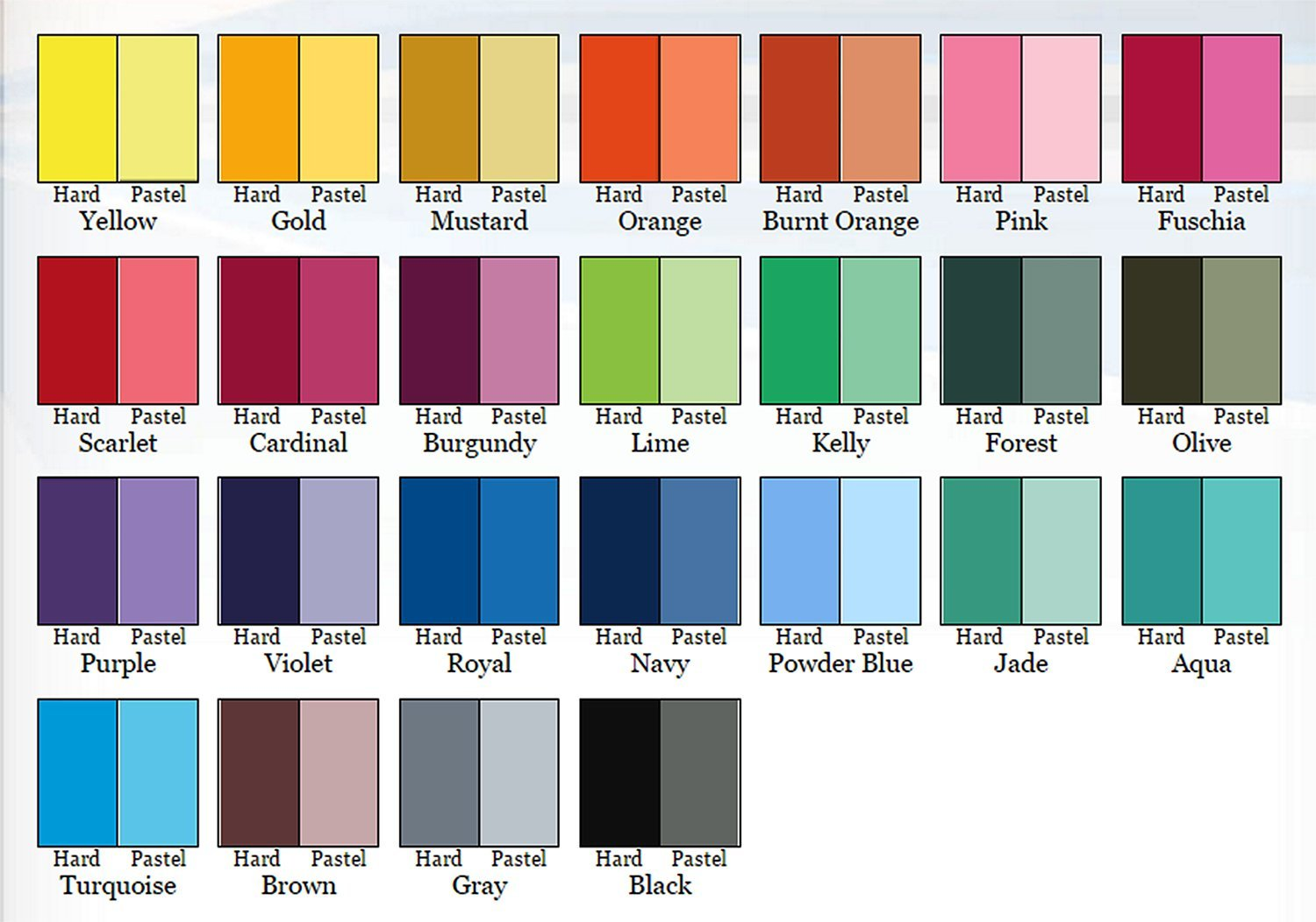 Pastel Color Chart Ibovnathandedecker