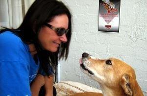 Karen Turner with her wolfhound dog, Tess