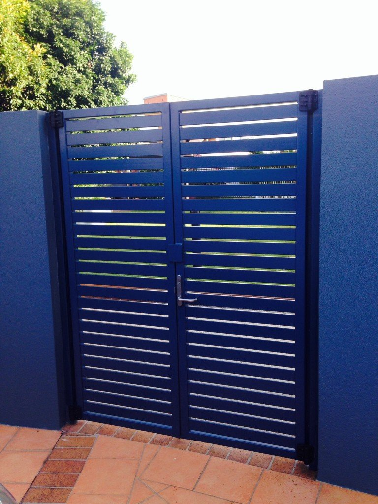 Large blue custom aluminium palings